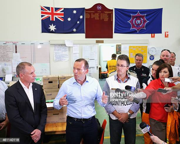 Australian Prime Minister Tony Abbott and South Australia Premier Jay Weatherill address a group of Country Fire Service volunteer's on January 8...
