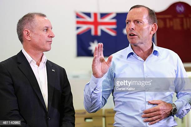 Australian Prime Minister Tony Abbott and South Australia Premier Jay Weatherill address members of the Country Fire Service on January 8 2015 in...