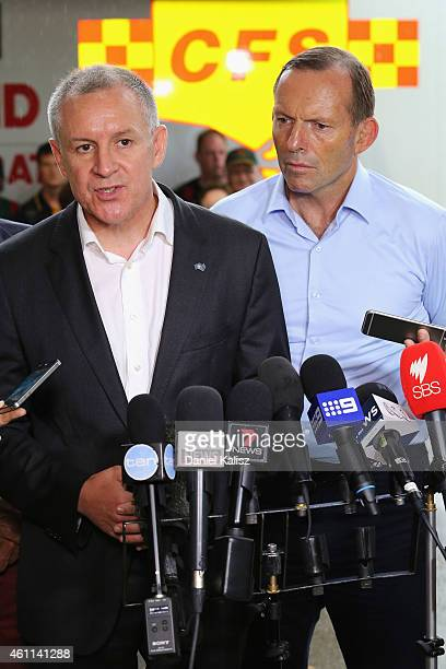 Australian Prime Minister Tony Abbott and South Australia Premier Jay Weatherill are pictured during a press conference on January 8 2015 in Adelaide...