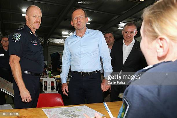 Australian Prime Minister Tony Abbott and South Australian Police Superintendent Anthony Fioravanti and South Australia Premier Jay Weatherill chat...