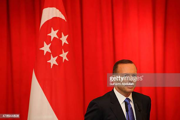 Australian Prime Minister Tony Abbott attends the joint press conference at the Istana on June 29 2015 in Singapore Australian Prime Minister Tony...