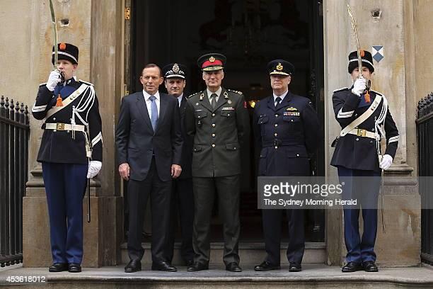 Australian Prime Minister Tony Abbott Australian Federal Police Commissioner Tony Negus Dutch Chief of Defence General Tom Middendorp and Australian...