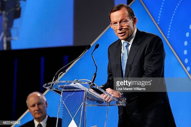 Australian Prime Minister Tony Abbott delivers his keynote speech during the B20 Summit on July 17 2014 in Sydney Australia Over 350 business leaders...