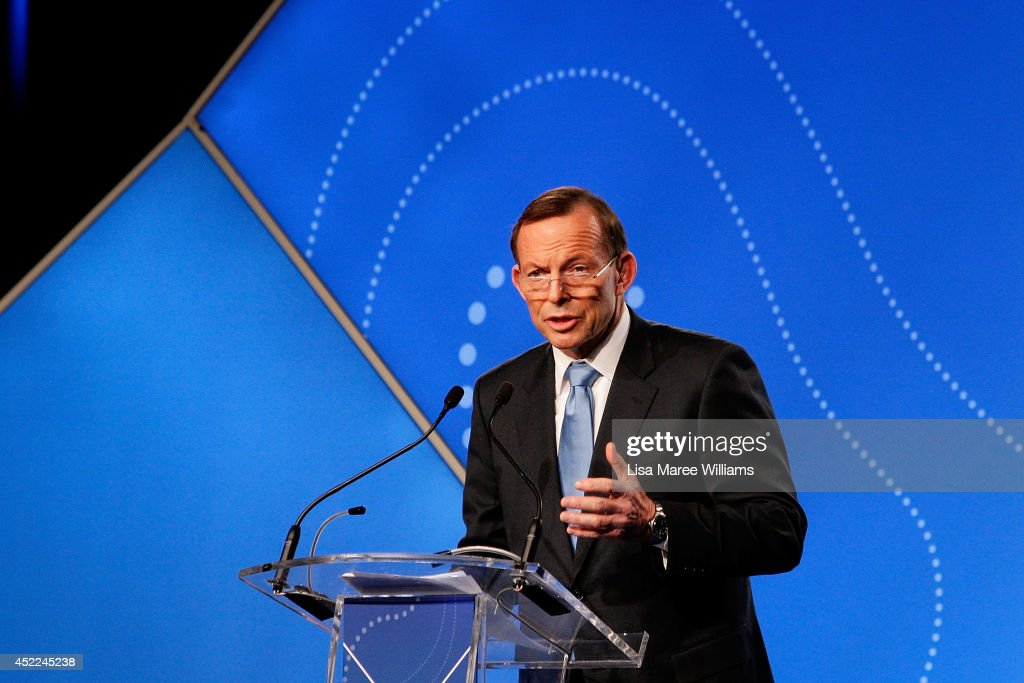 Australian Prime Minister Tony Abbott delivers his keynote speech during the B20 Summit on July 17, 2014 in Sydney, Australia. Over 350 business leaders have gathered in Sydney for the 2014 B20 Summit to discuss and determine policy recommendations ahead of the G20 Leaders Meeting in Brisbane later this year.