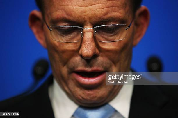 Australian Prime Minister Tony Abbott gives a statement to the media about the hostage situation which took place in Martin Place yesterday at...