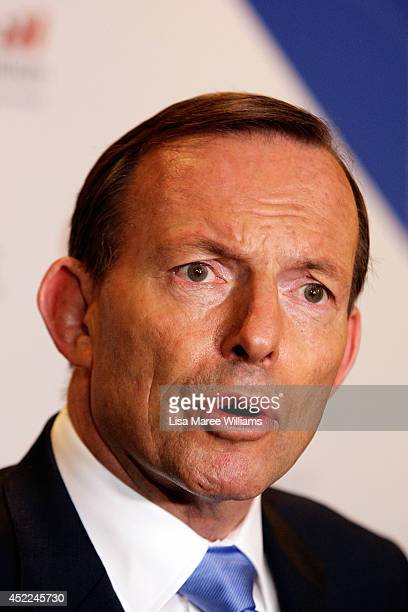 Australian Prime Minister Tony Abbott holds a press conference following his keynote speech during the B20 Summit on July 17, 2014 in Sydney,...