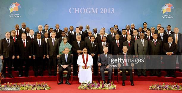 Australian Prime Minister Tony Abbott, President of Sri Lanka Mahinda Rajapaksa, Prince Charles, Prince of Wales and Secretary General of the...