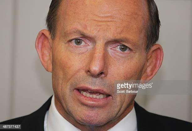 Australian Prime Minister Tony Abbott speaks as he visits Backwell IXL on April 30 2014 in Geelong Australia Prime Minister Abbott today confirmed he...