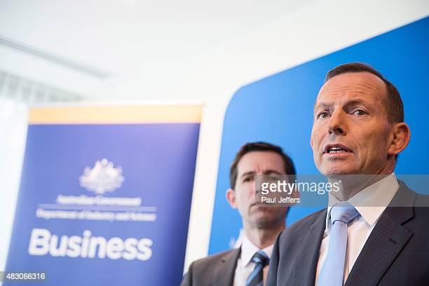 Australian Prime Minister Tony Abbott speaks during a press conference at the Novotel Hotel on August 6, 2015 in Geelong, Australia. Abbott announced...