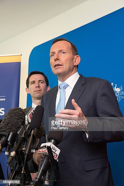 Australian Prime Minister Tony Abbott speaks during a press conference at the Novotel Hotel on August 6 2015 in Geelong Australia Abbott announced...