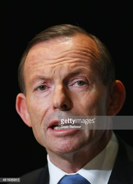 Australian Prime Minister Tony Abbott speaks during the 2014 Economic and Social Outlook Conference at the Melbourne Cricket Ground on July 3 2014 in...