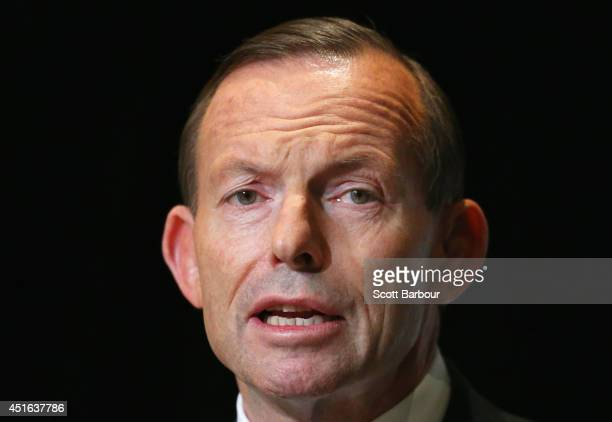 Australian Prime Minister Tony Abbott speaks during the 2014 Economic and Social Outlook Conference at the Melbourne Cricket Ground on July 3, 2014...