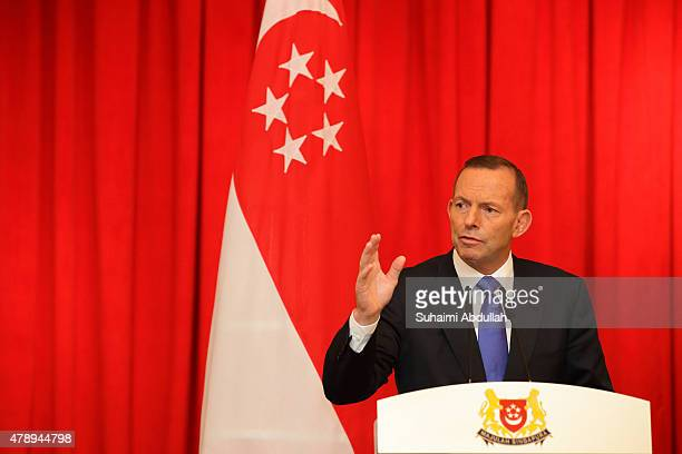Australian Prime Minister Tony Abbott speaks during the joint press conference at the Istana on June 29 2015 in Singapore Australian Prime Minister...