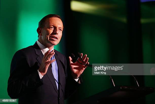 Australian Prime Minister Tony Abbott speaks during the Official Welcome Home Celebration For The 2014 Sochi Olympians And Paralympians at Museum of...