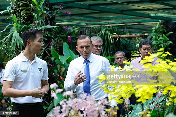 Australian Prime Minister Tony Abbott tours the orchid garden at the National Orchid Garden on June 29 2015 in Singapore Australian Prime Minister...