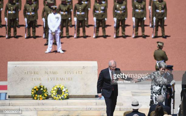 Australian Prime Minster Scott Morrison and the National President of the War Widows' Guild Of Australia Meg Green lay a wreath during the...