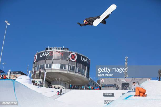 Australian pro snowboarder Scotty James huge Method during the 2017 Laax Open halfpipe competition on 19th January 2017 in Laax Switzerland The Laax...