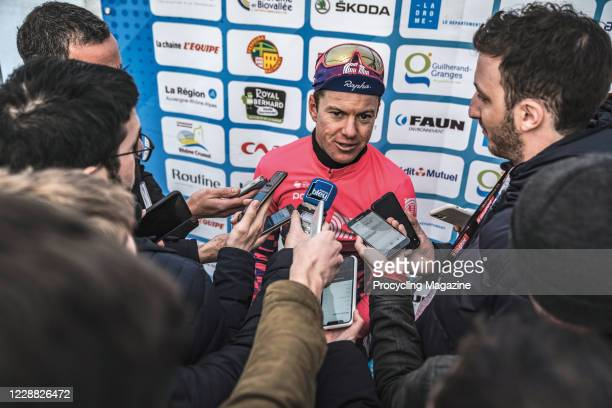 Australian professional cyclist Simon Clarke talking to journalists after winning the Royal Bernard Drome Classic road race in Livron-sur-Drome,...