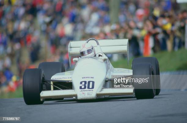Australian racing driver Alan Jones drives the Arrows Racing Team Arrows A6 Ford Cosworth DFV V8 to finish in 3rd place in the 1983 Race of Champions...