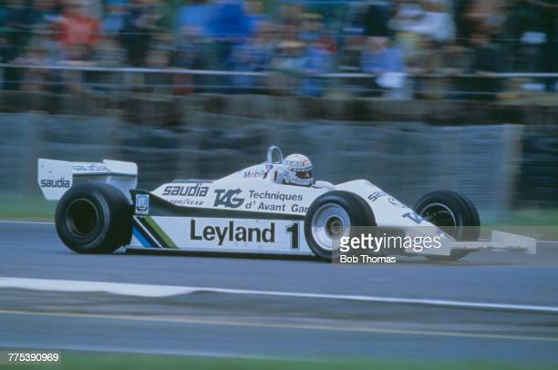 Australian racing driver Alan Jones drives the TAG Williams Racing Team Williams FW07C Ford V8 in the 1981 British Grand Prix at Silverstone circuit...
