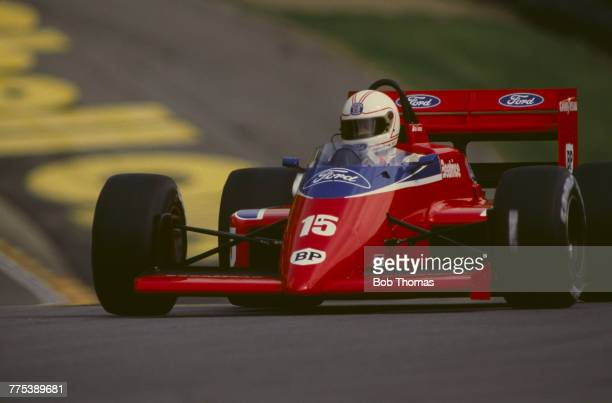 Australian racing driver Alan Jones drives the Team Haas Ltd Lola THL2 Ford V6 in the 1986 British Grand Prix at Brands Hatch circuit in England on...