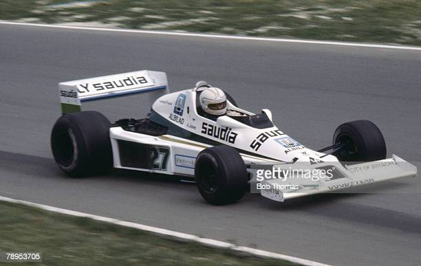 Australian racing driver Alan Jones drives the Williams Grand Prix Engineering Williams FW06 Ford V8 in the 1978 British Grand Prix at Brands Hatch...