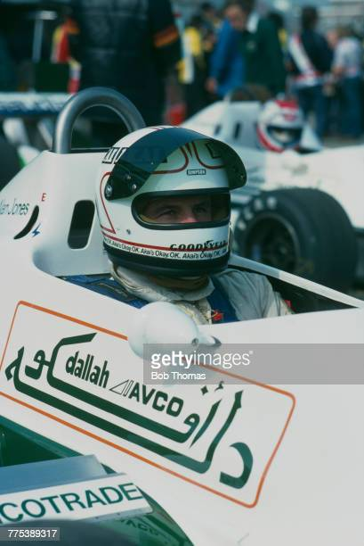 Australian racing driver Alan Jones pictured in the driver's seat of the AlbiladSaudia Racing Team Williams FW07 Ford V8 prior to competing in the...