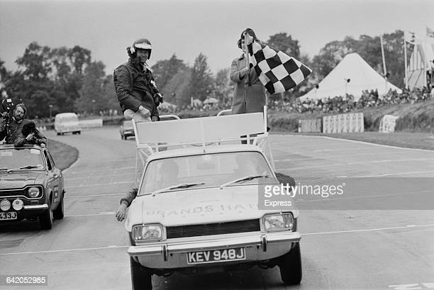 Australian racing driver Frank Gardner after winning the Ford Cortina race at Brands Hatch, UK, 30th May 1971.