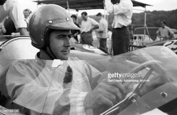 Australian racing driver Jack Brabham in his car at Brands Hatch Kent 12th August 1959