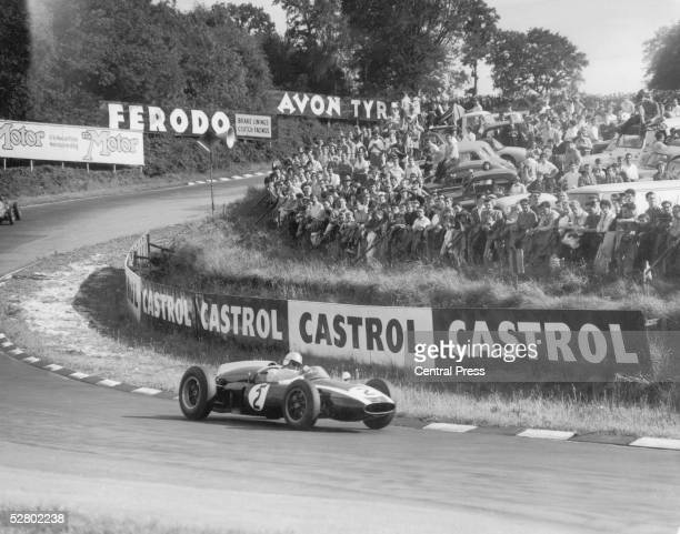 Australian racing driver Jack Brabham rounds a bend at Silverstone during the Silver City Trophy race for Formula 1 cars 2nd August 1960