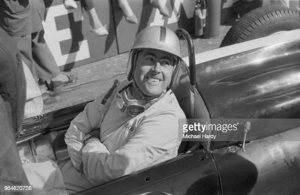 Australian racing driver Jack Brabham sitting inside his car before the Dutch Grand Prix, Circuit Park Zandvoort, Zandvoort, Netherlands, 22nd May...