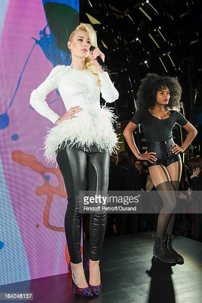 Australian rap singer Iggy Azalea performs during the MAC Cosmetics Champs Elysees Opening Party on March 21 2013 in Paris France