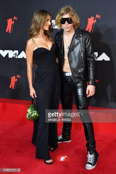 Australian rapper The Kid Laroi and social media personality Katarina Deme arrive for the 2021 MTV Video Music Awards at Barclays Center in Brooklyn,...