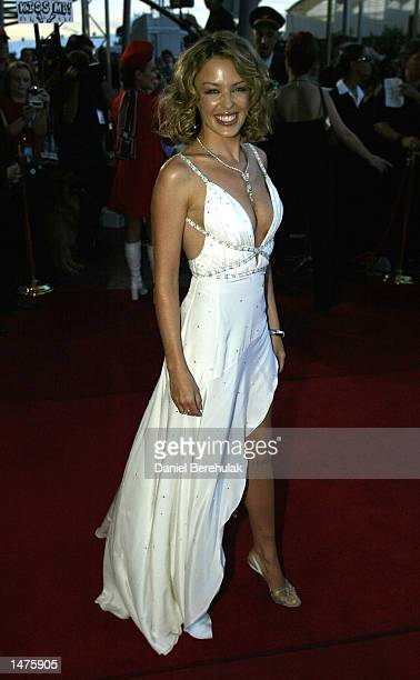 Australian recording artist Kylie Minogue arrives at the 16th Annual ARIA awards held on October 15 2002 at the Sydney SuperDome in Sydney Australia...