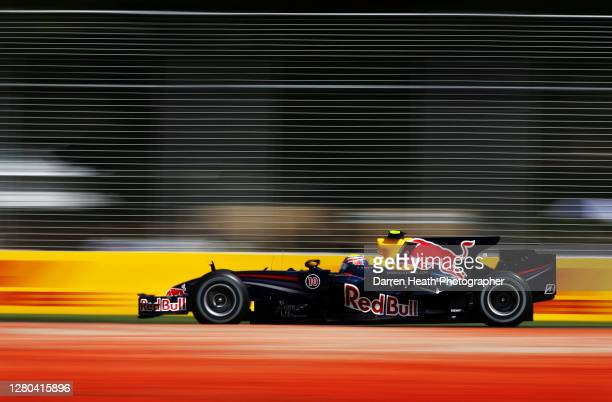 Australian Red Bull Racing Formula One driver Mark Webber drives his Red Bull Racing RB4 car at the Melbourne Grand Prix Circuit during practice for...