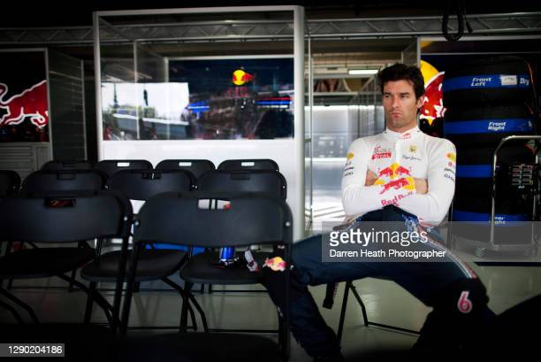 Australian Red Bull Racing Formula One racing driver Mark Webber sitting in the Red Bull Racing pit garage before the 2010 Brazilian Grand Prix,...