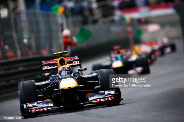 Australian Red Bull Racing Formula One racing driver Mark Webber in his RB6 racing car leads the field during the 2010 Monaco Grand Prix, Monte...