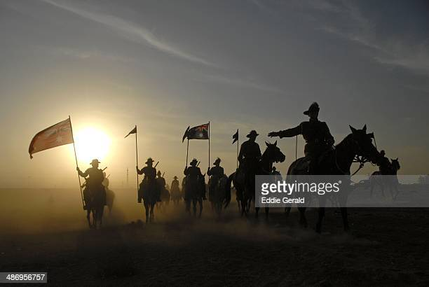 Australian reenactors recreate a scene from the First World War celebrating the anniversary of the battle of Beer Sheva in which Australian and New...