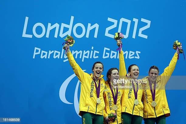 Australian Relay team celebrate victory in the 4x100m Medely 34 Points Ellie Cole Katherine Downie Annabelle Williams and Jacqueline Freney on day...