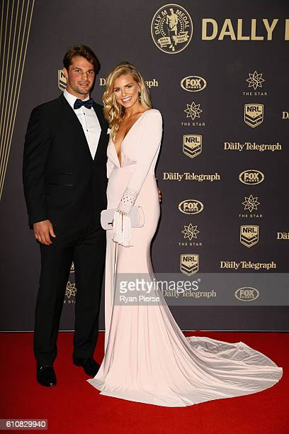 Australian rep for Miss Universe 2014 Tegan Martin and her partner arrive at the 2016 Dally M Awards at Star City on September 28 2016 in Sydney...