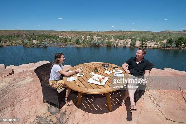 Australian restaurateur Luke Mangan with his winning CEO Melbournian Sofia Levin on September 24 2016 in El Questro Homestead Australia