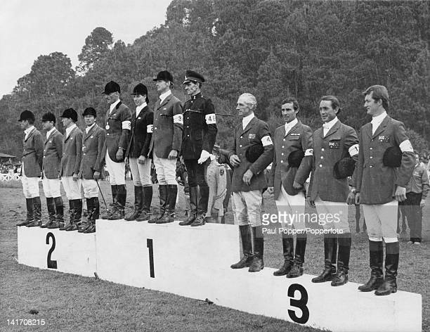 Australian rider Bill Roycroft with his team on the podium after the mixed team threeday eventing at the Mexico City Olympics 21st October 1968...
