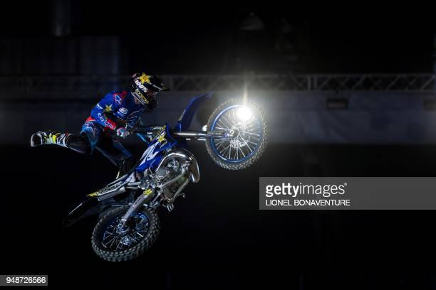 Australian rider Clinton Moore performs during a motocross freestyle show in Tours on April 7 2018 Each time their life is at stake freestyle...