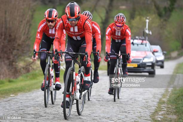 Australian rider Michael Matthews of Team Sunweb and teammates take part in the reconnaissance of the track of the 74th edition of the one-day...