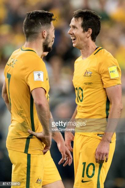 Australian Robbie Kruse and Australian Mathew Leckie happy after the goal of Australian Mile Jedinak at the Soccer World Cup Qualifier between...