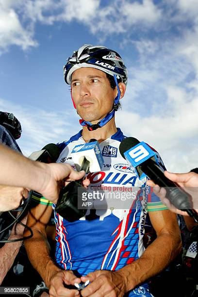 Australian Robbie McEwen of Team Katusha talks to the media prior to the start of the 2010 Tour Down Under in Adelaide on January 15 2010 The Tour...