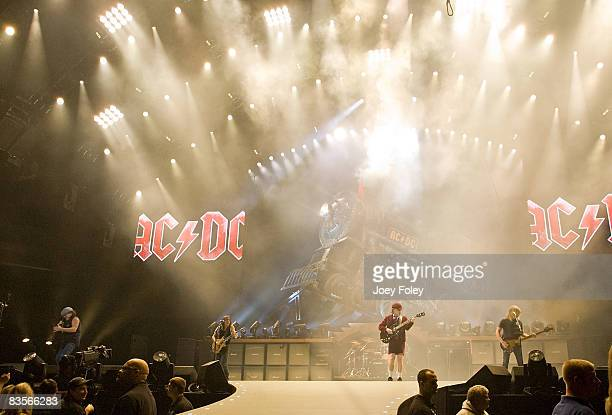 Australian rock band AC/DC performs in concert on their 'Black Ice World Tour' at the Conseco Fieldhouse on November 3 2008 in Indianapolis