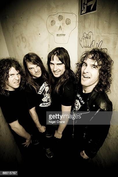 Australian rock band Airbourne pose backstage at the Astoria in London England on November 27 2008 Left to right are David Roads Justin Street Ryan...