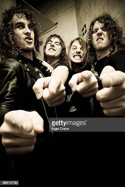 Australian rock band Airbourne pose backstage at the Astoria in London England on November 27 2008 Left to right are Ryan O'Keeffe Joel O'Keeffe...