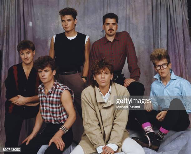Australian rock band INXS circa 1983 not in order guitarist/saxophonist Kirk Pengilly singer Michael Hutchence drummer Jon Farriss bassist Garry Gary...